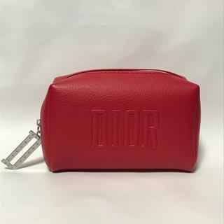 Dior - 未使用 ディオール レザー調 コスメポーチ 赤 DIOR
