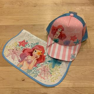 Disney - アリエル リトルマーメイド 日除け付き キャップ キッズ帽子 ピンク