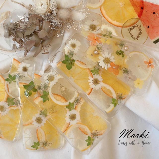 人気♡レモンとオレンジの押しフルーツケース  ハンドメイドのスマホケース/アクセサリー(スマホケース)の商品写真