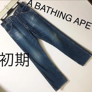 A BATHING APE - 初期◆ア ベイシング エイプ◆デニム ジーンズ USEDダメージ加工 ラングラー