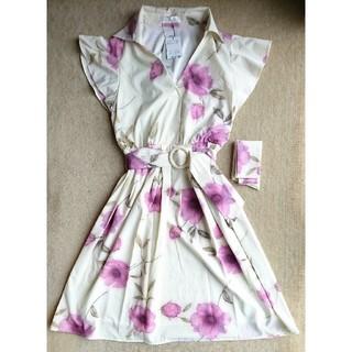 CECIL McBEE - CECIL McBEE 花柄 袖フリル ベルト&スカーフ付き ワンピース