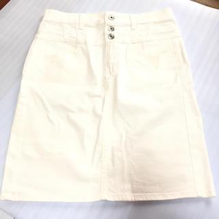 GU - GU デニムスカート ホワイト 夏服 嬉しい大きめサイズ XL レディース