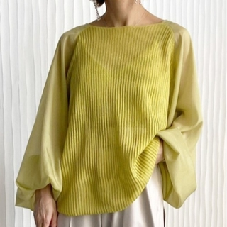 Ameri VINTAGE - 新品タグ付 VOLUME SLEEVE SHEER KNIT TOP ピスタチオ