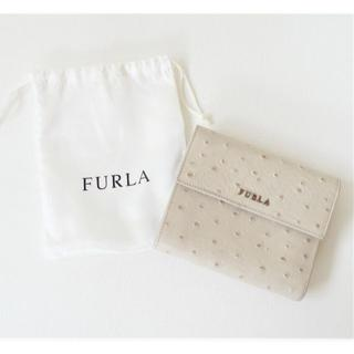 Furla - 【美品】FURLA▼フルラ▼ライトベージュ▼オーストリッチ▼三つ折り財布