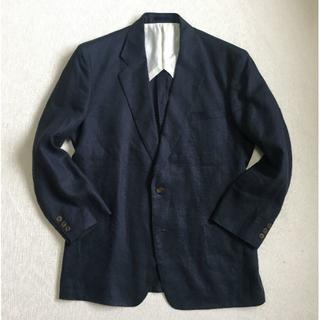 バーバリー(BURBERRY)のJ758★バーバリー 麻リネン100% ジャケット ブレザー ネイビー紺ブレ M(テーラードジャケット)