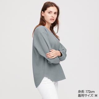 UNIQLO - ユニクロ ワッフルオーバーサイズクルーネックtシャツ