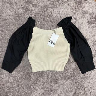 ザラ(ZARA)のコントラストディテール入りセーター(カットソー(半袖/袖なし))