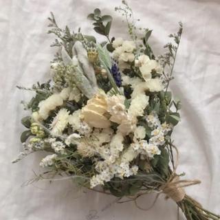 バラとラベンダーのナチュラルホワイト スワッグ ミニブーケ 30cm(ドライフラワー)