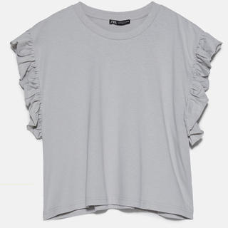 ZARA - ●新品未使用 ZARA フリル付きTシャツ ライトグレーLサイズ