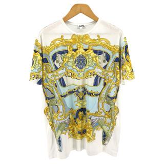 Hermes - HERMES☆ Tシャツ ロゴ コットン ホワイト ゴールド ブルー