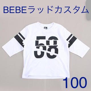 ベベ(BeBe)の「新品」RAD CUSTOM天竺ラインプリント7分丈Tシャツ(Tシャツ/カットソー)