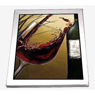 13-ワインペインティング red wine glass キャンバスアート 模写(ウェルカムボード)