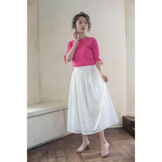 シェリーモナ(Cherie Mona)のシェリーモナ フラワー刺繍スカート ホワイト(ロングスカート)