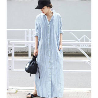 Plage - plage  ロングリネンシャツワンピース wash out シャツワンピース