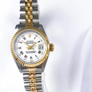 ROLEX - 【仕上済】ロレックス 10P ホワイトローマン コンビ レディース 腕時計