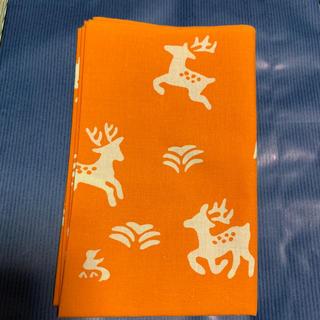 手ぬぐい 奈良 朱鳥 鹿 しか 手拭い てぬぐい 飛火野 オレンジ