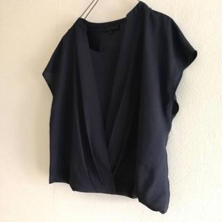 アンタイトル(UNTITLED)のアンタイトル カシュクールドレープブラウス 44 大きめサイズ(シャツ/ブラウス(半袖/袖なし))