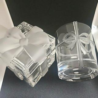 Tiffany & Co. - ティファニー クリスタルリボンボックス 小物入れ ボウグラス ロックグラス