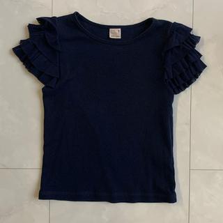 petit main - petitmain プティマイン Tシャツ フリル ネイビー 110