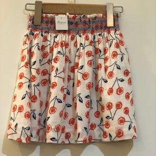 Bonpoint - ボンポワン チェリー柄スカート 6a 新品未使用 ピンク小サイズ布巾着付き