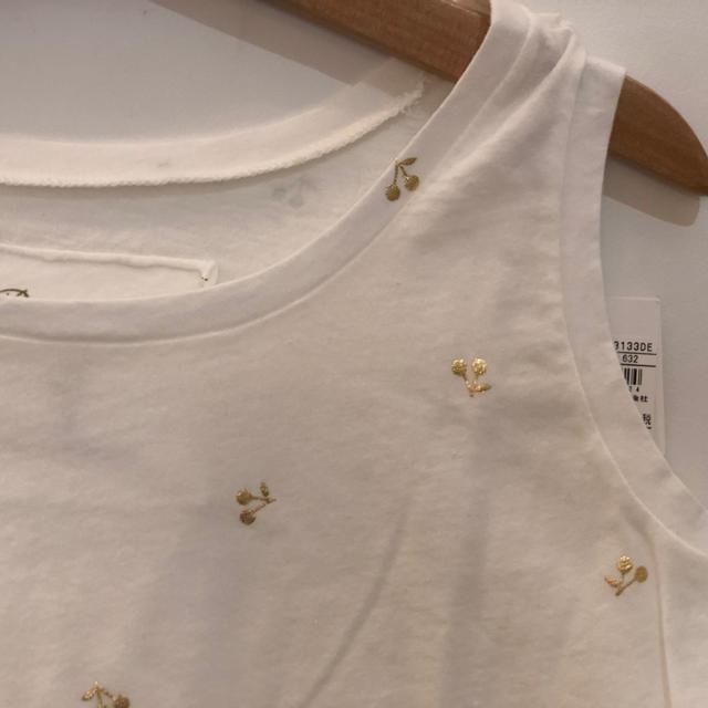 Bonpoint(ボンポワン)のボンポワン ゴールドチェリー柄タンクトップ 8a キッズ/ベビー/マタニティのキッズ服女の子用(90cm~)(Tシャツ/カットソー)の商品写真