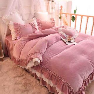 即日発送なめらか肌触りフランネル寝具カバーセット掛け布団カバーベッドスカート枕カ