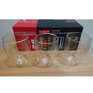 ボダム(bodum)のボダム ダブルウォールグラス 350ml×3個パヴィーナ 新品未使用(グラス/カップ)