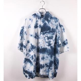 タイダイ染め半袖ビッグシルエットシャツ L メンズ 古着 ネイビー インディゴ