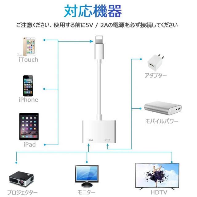 iPhone hdmi 変換ケーブル スマホ/家電/カメラのテレビ/映像機器(映像用ケーブル)の商品写真