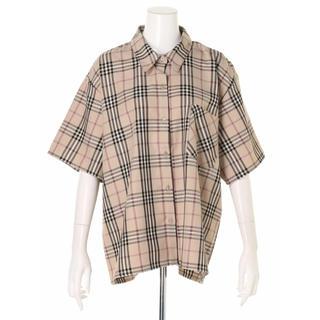 SPINNS - 【SPINNS】5分袖ビッグチェックシャツ ベージュ