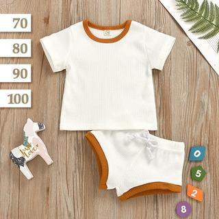 リブ 配色 半袖セットアップ|ホワイト〔80cm|90cm〕上下セット ベビー服
