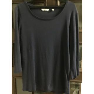 ユニクロ(UNIQLO)のユニクロTシャツ ネイビー L(Tシャツ(長袖/七分))