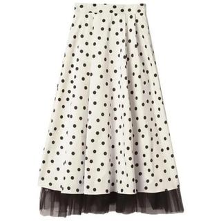 エイミーイストワール(eimy istoire)の新品タグ付 レトロドットレイヤードスカート ホワイトM(ひざ丈スカート)