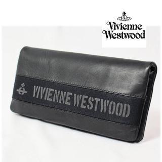 ヴィヴィアンウエストウッド(Vivienne Westwood)の 《ヴィヴィアンウエストウッド》箱付新品 牛革 ロゴベルト フラップ 長財布 黒(長財布)