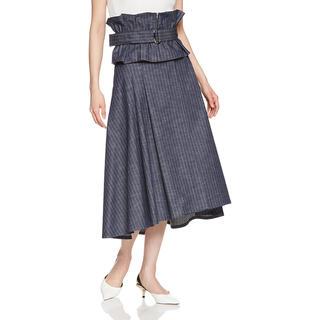 ADORE - 新品タグ付き アドーア  ストライプデニムフレアスカート ベルト付き