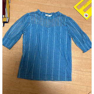 マウジー(moussy)のマウジー moussy トップス ブルー レース 編み (カットソー(半袖/袖なし))