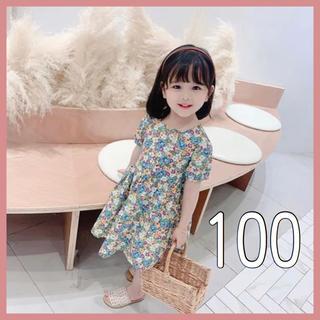petit main - ベビー キッズ ワンピース 花柄 レトロ アースカラー くすみカラー 100