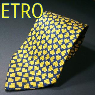 エトロ(ETRO)の【美品】ETRO  総柄 ネクタイ イタリア製 ネイビー/イエロー(ネクタイ)