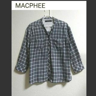 MACPHEE - MACPHEE  (マカフィー) ノーカラー七分袖シャツ