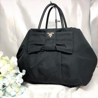 PRADA - プラダ ハンドバッグ テスート 黒 リボン 美品!