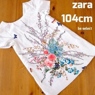 ZARA - [zara/100]Tシャツワンピース花はな鳥とり
