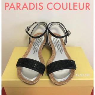PARADIS COULEUR - PARADIS COULEUR ストーンウェッジサンダル 黒