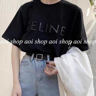 立体刺繍ロゴ Tシャツ パロディ M black