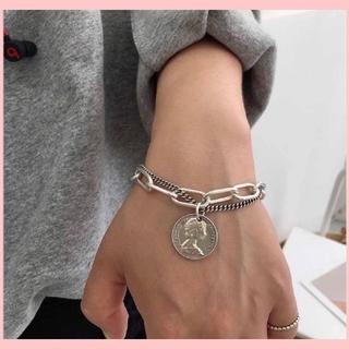 TOGA - 【人気商品】ダブルチェーンブレスレット シルバーアクセサリー 硬貨