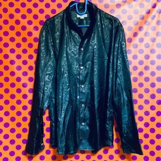 メンズティノラス(MEN'S TENORAS)のMEN'S TENORAS メンズ ドレスシャツ Lサイズ サテン生地 黒(シャツ)
