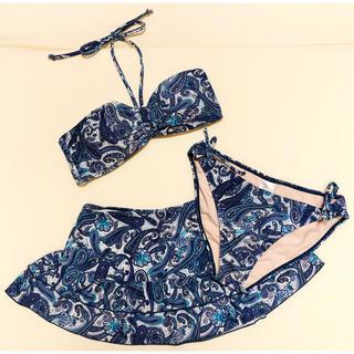 ザラ(ZARA)のペイズリー柄 バンドゥ ビキニ フレアスカート付き 3点セット(水着)