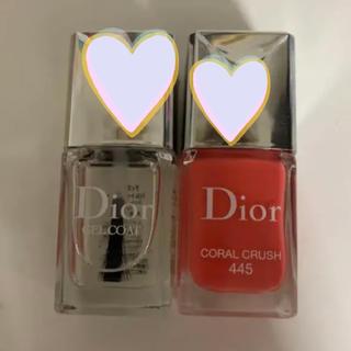 ディオール(Dior)のディオール ネイルエナメル  ヴェルニ 445  ジェルトップコート 2個セット(ネイルトップコート/ベースコート)