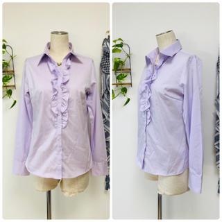 パーソンズ(PERSON'S)の*PERSONS パーソンズ*薄紫色 フロントフリル長袖ブラウス 9R スーツ用(シャツ/ブラウス(長袖/七分))