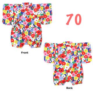 マーキーズ(MARKEY'S)のオーシャンアンドグラウンド  新品 花柄 浴衣 ロンパース 70(甚平/浴衣)