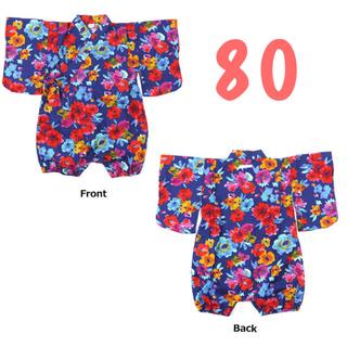 マーキーズ(MARKEY'S)のオーシャンアンドグラウンド  新品 80 花柄ロンパース 浴衣(甚平/浴衣)